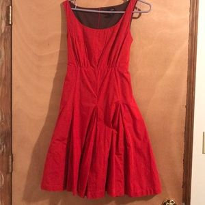 anthropology red cotton midi dress